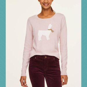 LOFT Blush Pink Cotton Crewneck Sweater w/ Llama